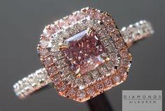 Pink purple diamond halo ring