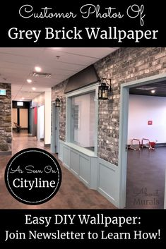 Watch this grey brick wallpaper on Cityline with Brian Gluckstein and then see it on real customer's walls! Hanging Wallpaper, How To Hang Wallpaper, Diy Wallpaper, Brick Wallpaper Black And White, Faux Brick Wallpaper, Indoor Play Centre, Grey Brick, Old Bricks, Hallway Ideas