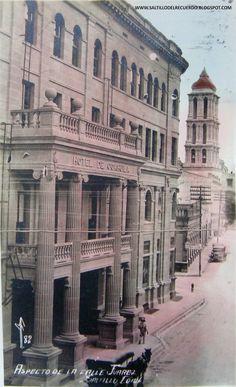 Banco de Comercio y Hotel de Coahuila. Al fondo la Catedral de Saltillo.