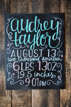 Custom Hand Painted Newborn Baby Birth Stats Chalkboard Sign - Photo Prop - Personalized by Breetique on Etsy