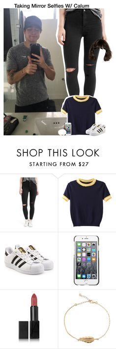 """Taking Mirror Selfies W/ Calum"" by aileen2704 ❤ liked on Polyvore featuring Topshop, WithChic, adidas Originals, County Of Milan, NARS Cosmetics, 5sos, calumhood, 5secondsofsummer and 5sosoutfits"
