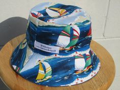 dde9e4bf12a88 Bucket Hat for Toddler with adorable sailboats. Reversible