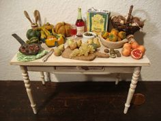 dollhouse Miniature table set up with the by bagusitalyminiatures