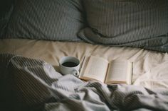 Image via We Heart It https://weheartit.com/entry/149230054 #bed #book #coffee #cozy #winter