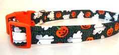 """Black with Ghosts and Pumpkins Collar-Halloween Dog Collar """"Halloweeeen"""" - NO EXTRA Charge for colored buckles by katiesk9kollars on Etsy"""