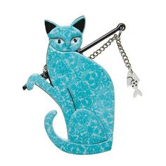 """Erstwilder Limited Edition The Famous Fishing Cat Brooch. """"Commenting on how he found fame the fishing cat replied: """"Well I wasn't going to get noticed catching mice now was I? Cat Jewelry, Jewelry Design, Catching Mice, Quirky Gifts, Catfish, Crazy Cats, Fishing Cat, Bling, Brooch"""