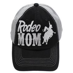 d2810c59 Rodeo Mom Grey-Silver Bling Trucker Hat Mom Hats, Rodeo Life, Bull Riding
