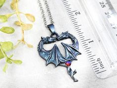 Dragon Necklace Wiccan Jewelry / Pagan Jewelry Crystal Dragon image 3 Wiccan Jewelry, Gothic Jewelry, Crystal Dragon, Dragon Images, Dragon Necklace, Witch Fashion, Ancient Symbols, Blue And Silver, Heart Shapes