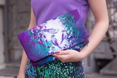 perfectly prettly purple purse......Meadow violet  embellished theater clutch bag by ZIBtextile, $50.00