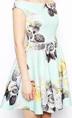 Mint Floral Dress