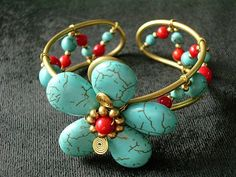 turquoise flower bracelet by xquisit