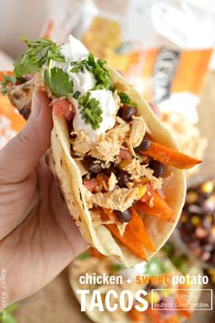 Chicken and Sweet Potato Tacos with Spicy Maple Sour Cream