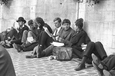 ON THE ROAD Archives: Beatniks by the river Seine. Paris, 1965