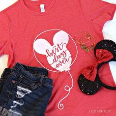 Disney Best Day Ever Balloon T-shirt in Heather Red or Teal - Disney World, Disneyland, Parks, Mouse (Made to Order) Disney Diy, Disney 2017, Disney Crafts, Disney Dream, Disney Style, Disney Magic, Disney World Shirts, Disney World Trip, Disney Trips