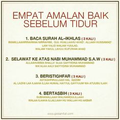 Amalan sebelum bobo Y Hijrah Islam, Doa Islam, Reminder Quotes, Self Reminder, Asma Allah, Quran Quotes Inspirational, Islamic Messages, Islamic Qoutes, Islamic Teachings