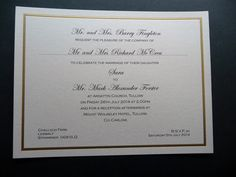 Wedding invitations with a gold foil border