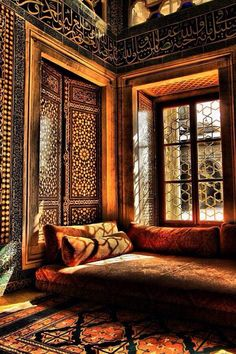 Interior of Harem section in Topkapı Palace, Istanbul. Moroccan Design, Moroccan Decor, Moroccan Style, Moroccan Bedroom, Moroccan Lounge, Indian Interior Design, Turkish Style, Turkish Design, Asian Interior