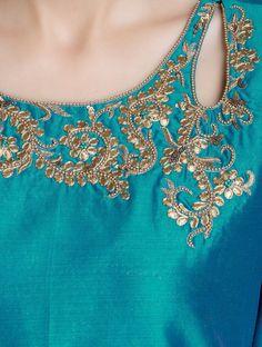 opal blue chanderi kurta w gold neck work & pajami by ROHINI DEZINES