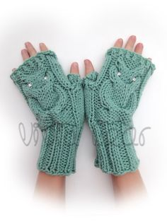 Knit Owl Cable Fingerless Gloves. Sage or 44 Colors. Arm Warmers. Clear Crystal Eyes Owl. Winter Accessory for Women and Teens. Arm Cuffs. by VividBear on Etsy https://www.etsy.com/listing/260122504/knit-owl-cable-fingerless-gloves-sage-or