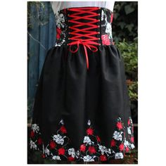 gothic lolita jumper skirt. boned high waist, shirred back, skulls and roses print, corset lacing