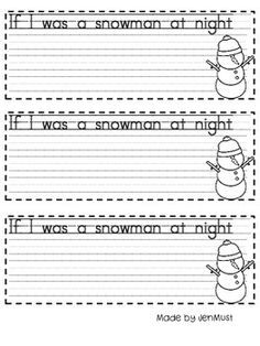 Here is a freebie for your little writers this holiday season. Goes with books Snowmen at play and Snowmen at night. 1st Grade Writing, Teaching Writing, Kindergarten Activities, Writing Activities, Winter Activities, Writing Prompts, Preschool Winter, Kids Writing, Snowmen At Night