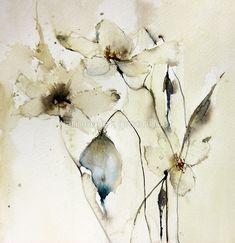 white floral Art Print by annemiek groenhout Abstract Watercolor, Watercolor Flowers, Watercolor Paintings, Art Floral, Sunflower Art, Alcohol Ink Art, Art Plastique, Illustration, Art Prints