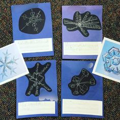 I set out some invitations to provoke their thinking about snowflakes! They were very aware of what snow looked and felt like, but not as i. Snowflake Photos, Snowflakes, Animal Footprints, Observational Drawing, Small World Play, Different Emotions, Kindergarten Art, Snow And Ice, Close Up Pictures