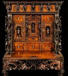 Furniture: Desk; Genoese 16th Century, Walnut, Drop-Front, Elaborate Figural Carvings, Escritoire.