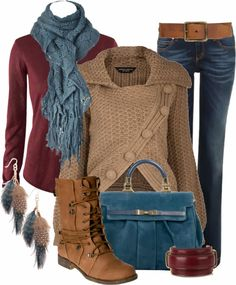 Fall Colors Berry Sweater and Jeans Ensemble.