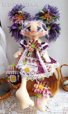 Купить Текстильная кукла Домовушка Хозяюшка Виолка. Интерьерная кукла - сиреневый, кукла, подарок на новоселье Stuffed Toys Patterns, Art Dolls, Captain Hat, Girly, Textiles, Hats, Collection, Wine Cork Crafts, Handmade Rag Dolls