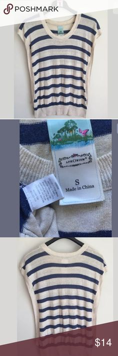"""Aphorism Women's Top Women's Aphorism Boxy Sweater Top Sleeveless Blue Ivory striped 60% Cotton 40% Rayon Pre-owned in good condition with no flaws Women's Size S. Measures 27"""" across chest arm pit to arm pit laying flat. Length is 21"""" long measured from top of shoulder to bottom hem. Aphorism Tops"""