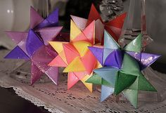Folded Paper German Star Video Tutorial from the web site With a Grateful Prayer and a Thankful Heart. There are 2 videos that walk you thru the entire process.