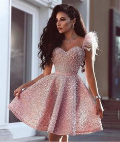 13f3686e35e0 Sweetheart Pink Beaded Short homecoming Dress with Feathers, Cutest Pi –  classygown