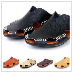 Cheap Casual Mens Shoe - Best Slippers Genuine Cowhide Leather Man Beach Shoes Casual Online with $35.48/Pair | DHgate