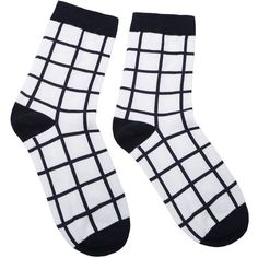 Black and White Grid Pattern Crew Sock ($3.01) ❤ liked on Polyvore featuring intimates, hosiery, socks, crew socks, black white socks, crew cut socks, print socks and patterned hosiery