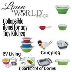 These collapsible #kitchen accessories are perfect for RVs, apartments, dorms, or for camping. Items include measuring cups and spoons, dish washing tubs, dish drainers, colanders, storage bowls, and salad spinner. You can get yours at www.mylinenworld.com/samanthabryant. Select SHOP NOW WITHOUT A PARTY, under KITCHEN ORGANIZATION.