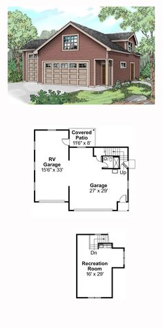 Garage Apartment Plan 59452 | Total Living Area: 508 sq. ft. with 3/4 bathroom. This traditional garage plan can park up to four cars, and a recreation room is located on the second floor. #carriagehouse