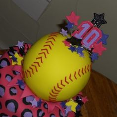 change the softball to a volleyball and its perfect Softball Birthday Parties, Softball Party, 13th Birthday Parties, 13 Birthday Cake, 10th Birthday, Birthday Stuff, Birthday Ideas, Sweet 16 Cakes, Sport Cakes