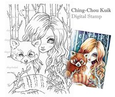 Red Panda - Digital Stamp Instant Download / Fantasy Art by Ching-Chou Kuik