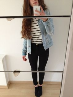 Way to style basic pieces with the light denim jacket, striped top, black jeans, and black shoes