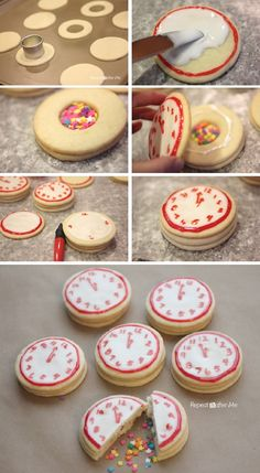 New Years Confetti Clock Cookies - 15 Buoyant DIY New Year's Eve Party Ideas | GleamItUp