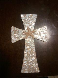 Starfish Mosaic Beach Cross by stashascreations on Etsy, $49.00