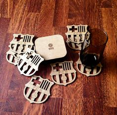 FC Barcelona Coasters, Sports Team Coasters, laser cut coasters, choose your own team, sports gift, team logo coasters, Barcelona coasters  Wooden cup
