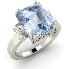 Diamondere Emerald-Cut Aquamarine VS Diamond 14k White Gold Sidestone Ring