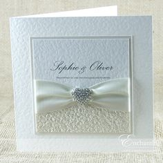 SAMPLE - THE ARIEL COLLECTION - CLASSIC FOLD INVITATION  LUXURY HANDCRAFTED WEDDING INVITATION  Featuring a beautiful diamante heart embellishment,