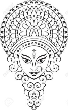 Durga Goddess Of Power Vector Art Royalty Free Cliparts Vectors And Stock Illustration Image 32259899 Doodle Art Drawing, Mandala Drawing, Madhubani Art, Madhubani Painting, Durga Painting, Durga Maa Paintings, Tattoo Collection, Black Art Painting, Crewel Embroidery