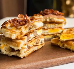 Breakfast Waffles - waffle, sausage, egg, cheese all cooked together in your waffle iron