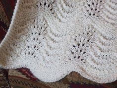This is my variation on a common pattern… adding a border, plus bands of garter stitch to break up the field of feather and fan. Free Baby Blanket Patterns, Crochet Blanket Patterns, Baby Knitting Patterns, Baby Patterns, Crochet Squares, Crochet Ideas, Crochet Projects, Knitted Afghans, Knitted Baby Blankets