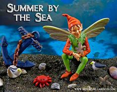 Fairies by the sea!  Our little fairy on vacation in our summer themed miniature fairy garden.