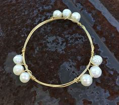 Freshwater Pearls Wire Wrapped Brass Bangle Bracelet